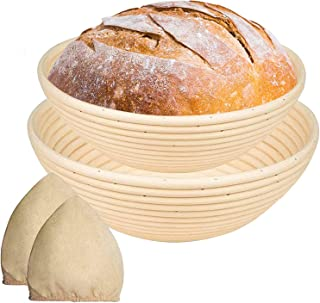 KOMOREBI Bread Banneton Proofing Basket Set 9&11 Inch,Round Dough Proofing Bowl,Handmade with Natural Rattan Cane+Linen Cl...