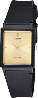 Casio MQ-38-9A Black with Gold Face Rectangular Basic 3-Hand Unisex Analog Watch