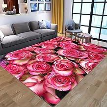 LHGBGBLN 3D Printing Carpet Pink Rose Bedroom Living Room Non-Slip mat Corridor Floor mat Door mat Flower Carpet Home Deco...