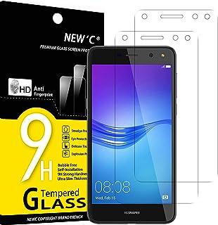 NEW'C 2-pack skärmskydd med Huawei Y6 (2017) – Härdat glas HD klar 9H hårdhet bubbelfritt