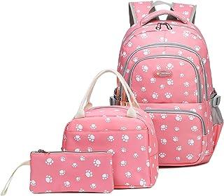 Goldwheat Girls School Backpack Bag Set 3 Pcs Bookbag Lunch Bag Purse, Pink (Pink) - GDT-KDAK06