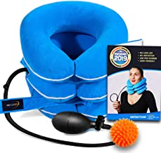Cervical Neck Traction Device by NeckFix for Instant Neck Pain Relief [FDA Approved] - Adjustable Neck Stretcher Collar for Home Traction Spine Alignment [Model 2019] + Bonus (12-17 inch)