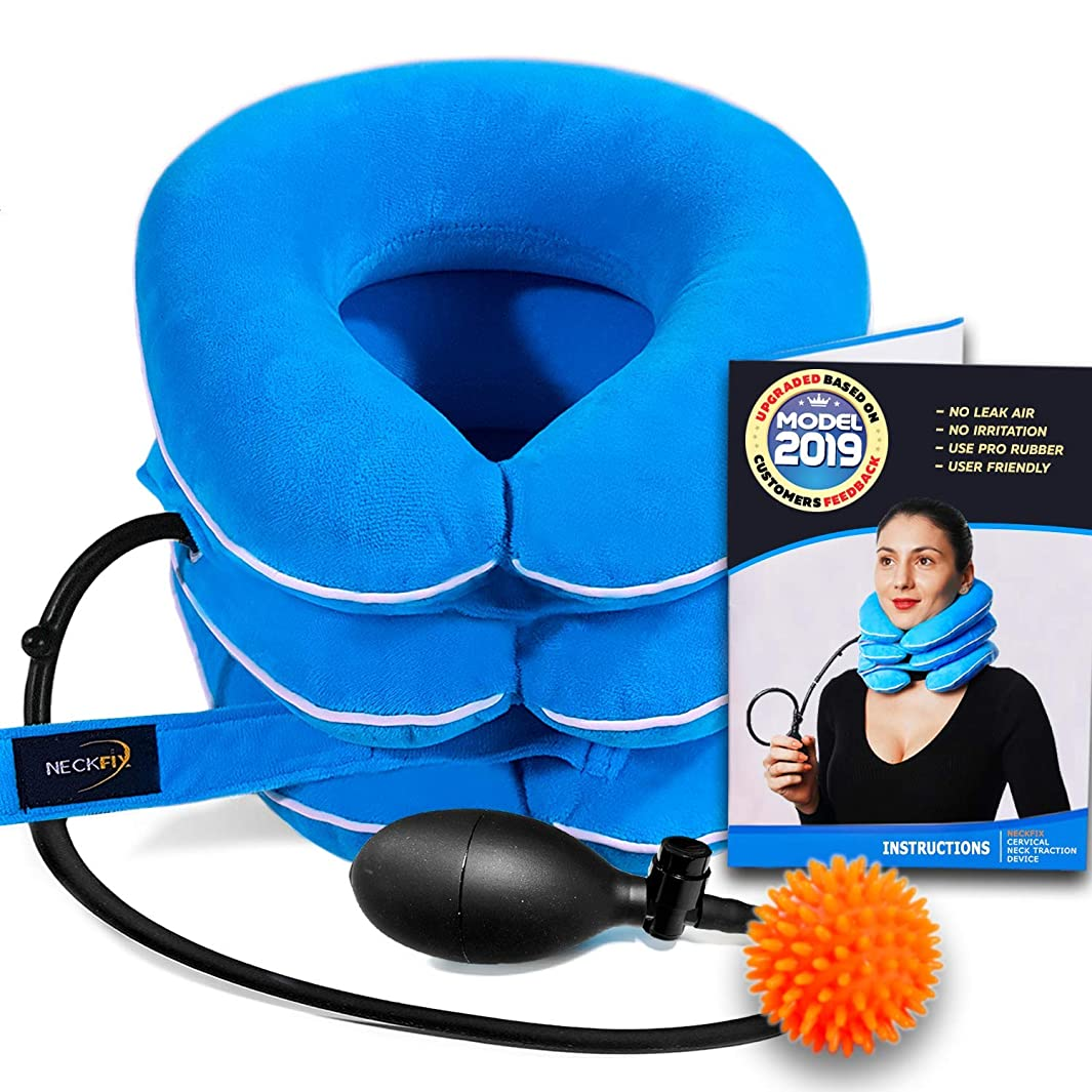 Cervical Neck Traction Device by NeckFix for Instant Neck Pain Relief [FDA Approved] - Adjustable Neck Stretcher Collar for Home Traction Spine Alignment [Model 2019] + Bonus (11-19 inch)