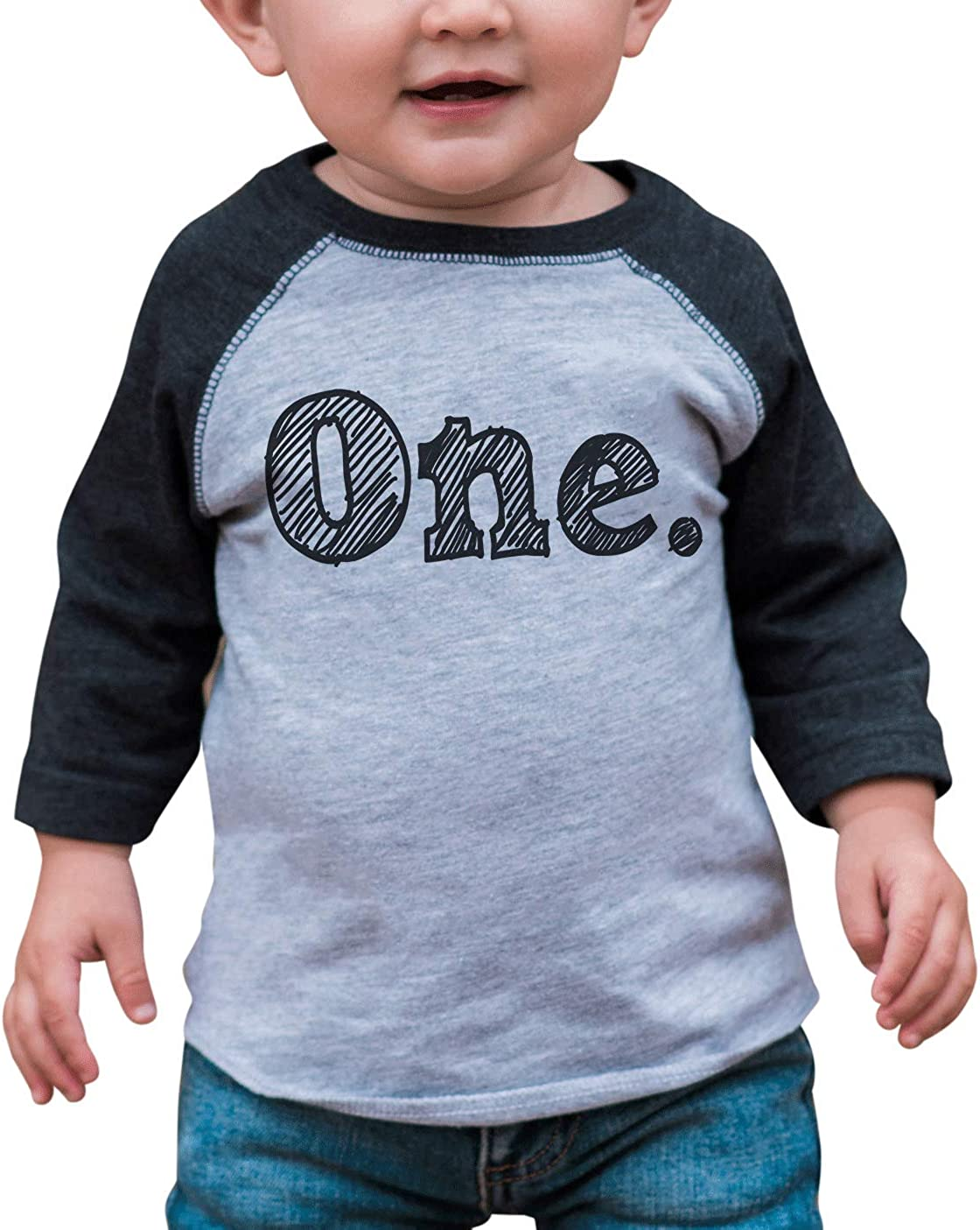 7 ate 9 Apparel Boy's One 1st 1 First Birthday Sketch Tee