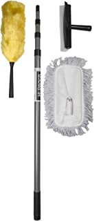 High Reach Cleaning Kit with 10-Foot Extension Pole for High Ceilings, Windows, and Walls, Fan and Ceiling Duster - Set Includes Telescopic 10 ft Pole, Window Squeegee, Static Duster, & Mop Head
