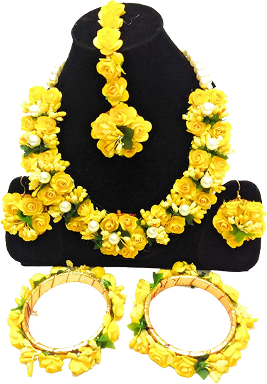 Riya Handicraft Women's Gota Patti Flower Jewelry Set (Yellow) Attractive Artificial Indian Traditional