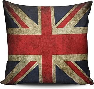 Hoooottle Custom Hot Romantic Classic Retro UK United Kingdom Union Jack Flag Britain British Euro Square Pillowcase Zippered One Side Printed 26x26 Inches Throw Pillow Case Cushion Cover