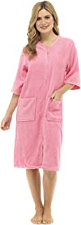 Womens Short Sleeve Zip Through Dressing Gown Robe