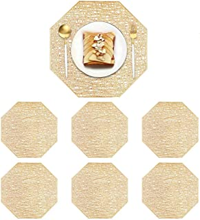 6 Pieces Gold Octagon Placemats Laminated Vinyl Dining Table Decorative Placemat Non-Slip Insulation Placemat Washable Tab...