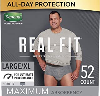 Depend Real Fit Incontinence Underwear for Men, Maximum Absorbency, Disposable, Large/Extra-Large, Grey, 52 Count (Packagi...