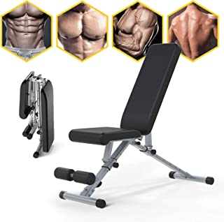 Adjustable Weight Bench, Li·Fitness Utility Workout Bench for Home Strength Training, Foldable Gym Incline Decline Bench f...