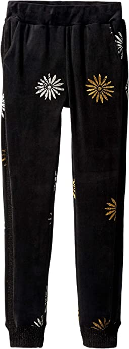 Daisy Foil Velour Joggers (Big Kids)