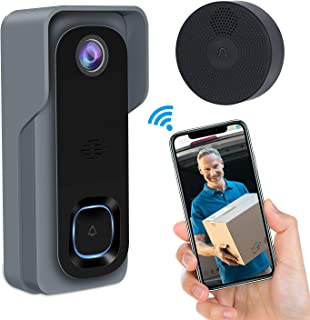 Video Doorbell,GEREE WiFi Smart Wireless Doorbell 1080P HD Security Home Camera Real-Time Video and Two-Way Talk, Night Vision, PIR Motion Detection 166°Wide Angle Lens 2019 Newest Upgrade