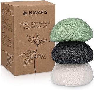 Navaris Set de 3 esponjas de limpieza faciales Konjac -
