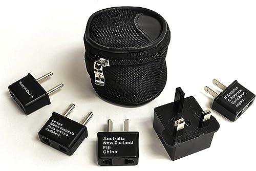 Ceptic Internacional En todo el mundo adaptador de viaje enchufe Set de 5 piezas, ideal para teléfonos celulares, car...