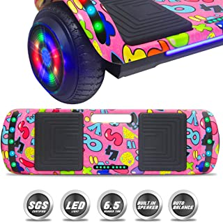 NHT Latest Generation Electric Hoverboard Build-in Bluetooth Speaker Electric Self Balancing Scooter Hover Board with LED Lights Safety Certified