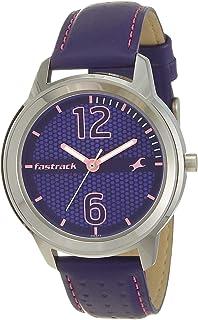 ساعة من فاستراك بتصميم ثقوب على السوار ومينا ارجواني عرض انالوج للنساء