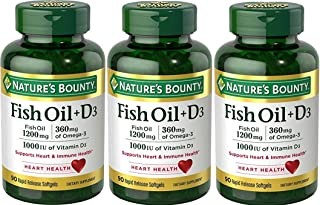 Nature's Bounty Fish Oil 1200 mg + Vitamin D3 1000 IU, 90 Softgels (Packaging May Vary)(Pack of 3)