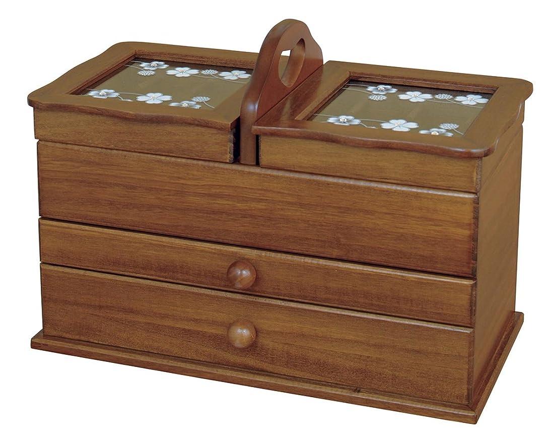 血まみれ歯コマンドヂヤンテイ商会 収納ボックス 天然木ソーイングボックス〔クローバー〕 - 日本製 G-580B