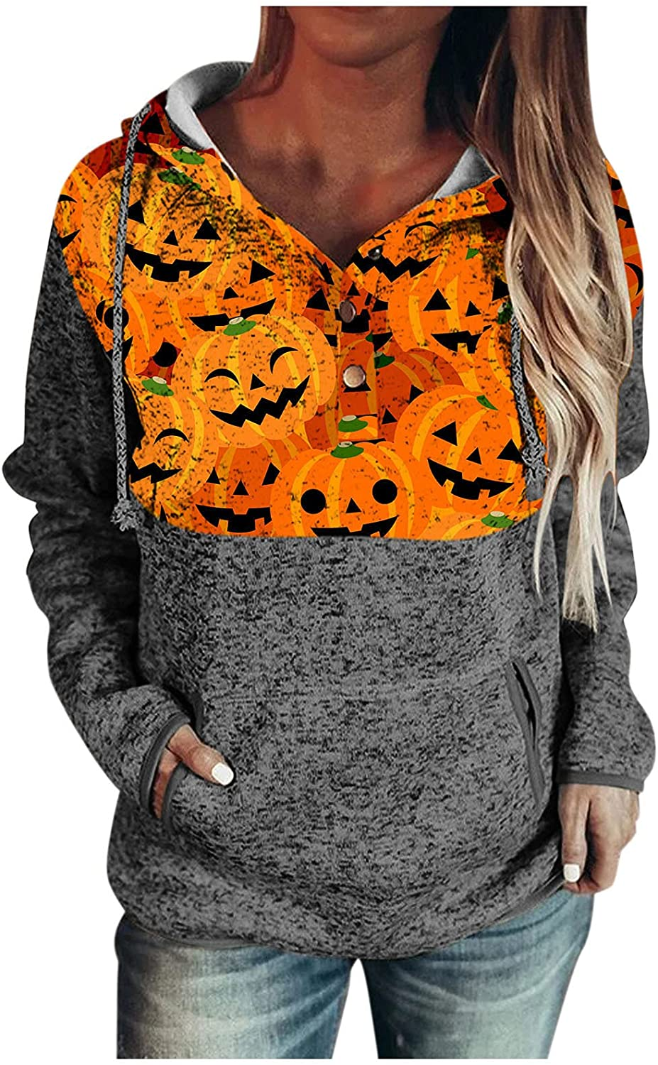 Hoodies for Women,Womens Drawstring Long Sleeve Sweatshirts Hoodies Hooded Button Down Pullover Casual Pocket Tops
