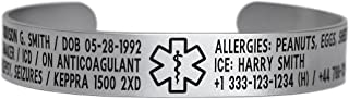 Medical Alert ID Bracelet Cuff 12mm Wide, 316L Stainless Steel - Customize and Personalize Your Conditions