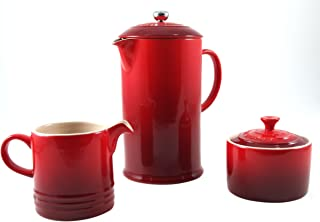 Le Creuset Cerise Cherry Stoneware French Press Coffee Maker With Matching Cream and Sugar Set
