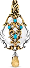 product image for Carolyn Pollack Sterling Silver and Brass White Agate, Turquoise and Citrine Gemstone Cascade Swirl Leaf Pendant Enhancer