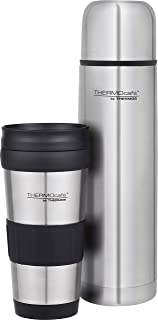THERMOcafe by THERMOS Combo Pack - 1L Stainless Steel Flask and 420ml Tumbler, Stainless Steel, 2555C6AUS