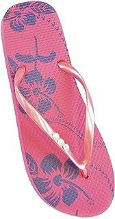 FLOSO Ladies/Womens Hibiscus Printed Flip Flops With Jewel Trim