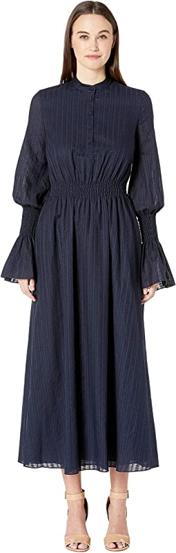 Swiss Voile Long Sleeve Dress w/ Smocked Waist and Sleeves