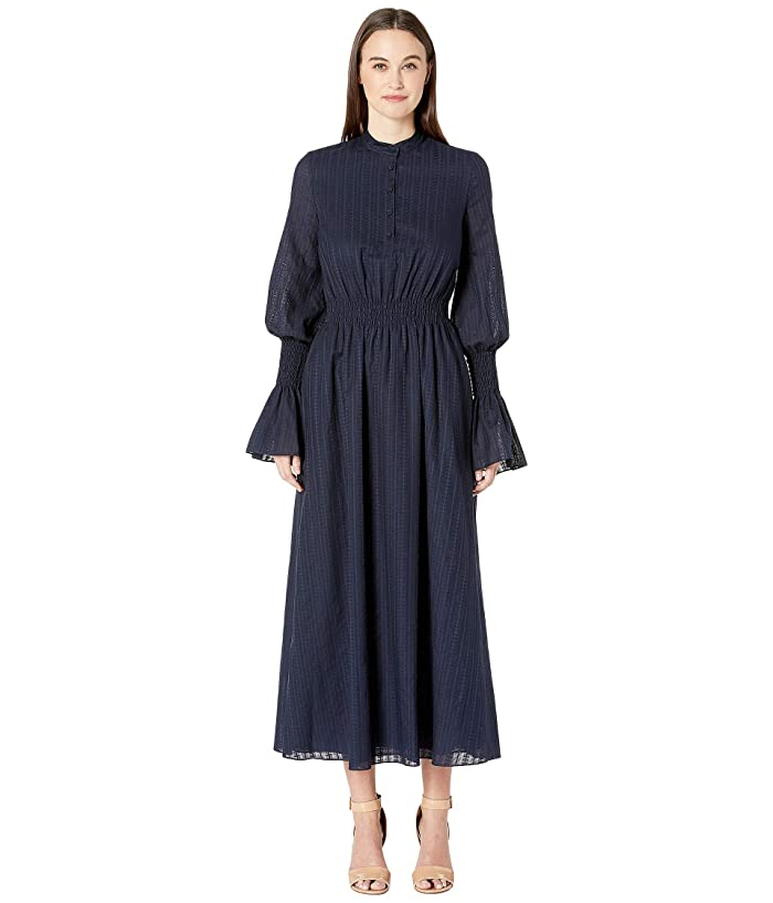 Adam Lippes Swiss Voile Long Sleeve Dress w/ Smocked Waist and Sleeves (Navy) Women's Dress