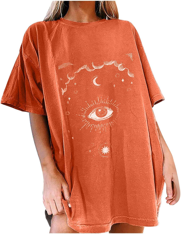 Women Oversized Vintage T Shirt Novelty Moon and Sun Print Summer Tops Casual Short Sleeve Crewneck Tee Tunic Blouse