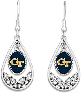 FTH Georgia Tech Yellow Jackets Logo Silver Tone Tear Drop Earrings with Rhinestones