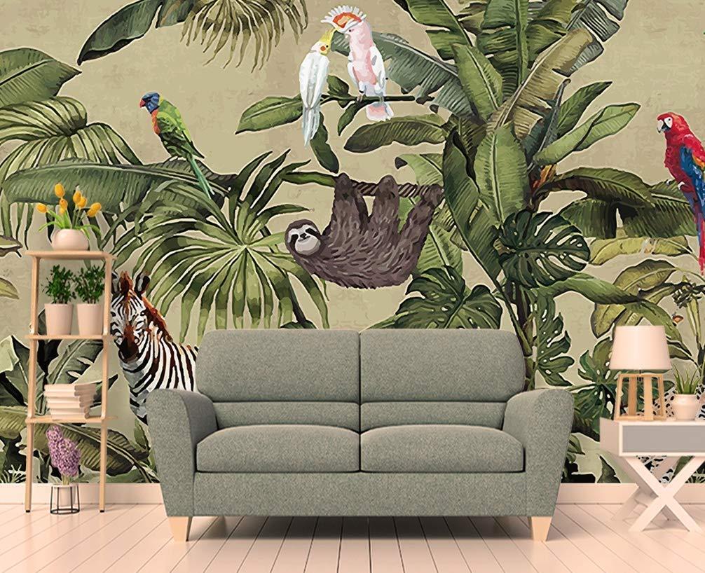 Buy Murwall Forest Wallpaper Vintage Jungle Wall Mural Tropical Home Decor Vintage Cafe Design Living Room Bedroom Entryway Online In Senegal B07njdtm8p