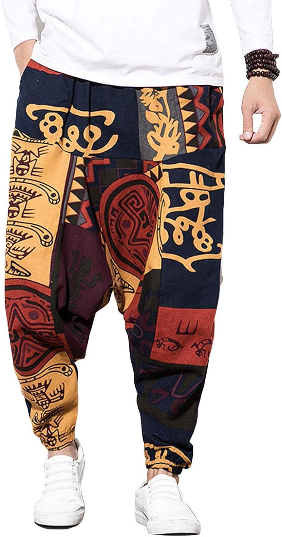 Mugoebu Pantalones hiphop para hombre, sueltos, de algodón y lino, estilo harén, bombacho, Aladino, con estampado retro y bolsillos