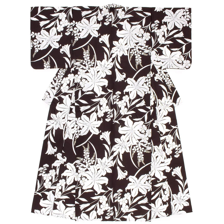(ソウビエン) 浴衣 レディース 単品 黒茶系 ブラックブラウン 百合 ユリ 萩 桜草 花 綿 フリーサイズ