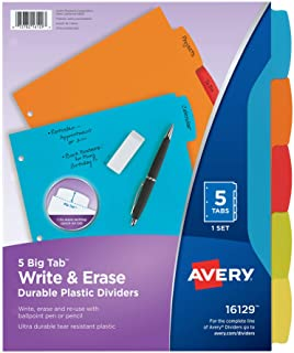 AVERY Big Tab Write & Erase Durable Plastic Dividers, 5 MulticolorTabs, 1 Set, 24 Packs (16129)
