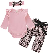 Baby Girl Outfit Pink Romper Leopard Long Pant Infant Ruffle Long Sleeve Jumpsuit Toddler Fall Clothes Set