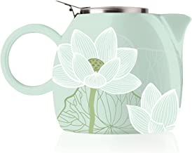 Tea Forte Pugg 24oz Ceramic Teapot with Tea Infuser, Loose Leaf Steeping For Two, Lotus