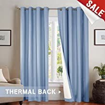 Moderate Blackout Thermal Backed Curtains for Living Room, Lined Bedroom Drapes 95 Inches Long Blue Curtain Grommet Top, 2 Panels