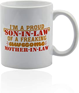 Son in law gifts 11 oz. white ceramic cup. Son in law coffee mug.