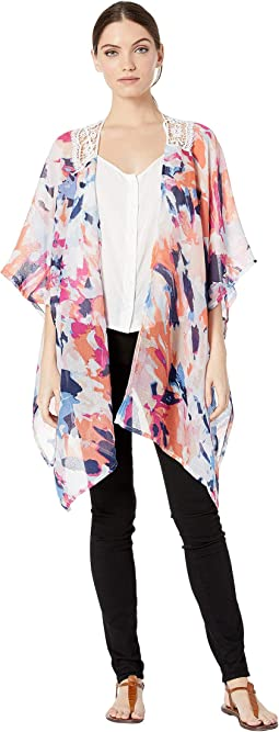 Abstract Kimono with Lace Insert