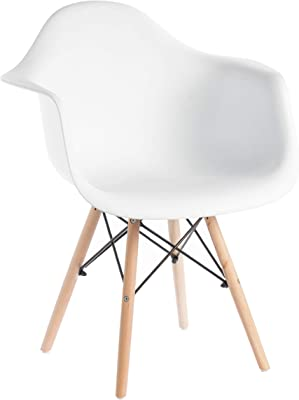 Bold Tones Mid-Century Modern Style Plastic DAW Shell Dining Arm Chair with Wooden Dowel Eiffel Legs, White, 1