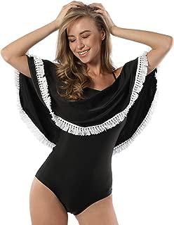 Womens Retro One Piece Swimsuit Plus Size Swimwear Off Shoulder Crochet Ruffle Bathing Suit
