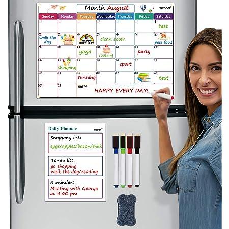 Rabbitgoo Fridge Magnetic Calendar Whiteboard Strong Magnets Neodymium Board Set
