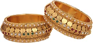 Efulgenz Fashion Jewelry Indian Bollywood 14 K Gold Plated Faux Pearl Multicolor Crystal Coin Bracelets Bangle Set (2 Pc)