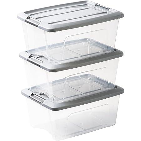 Amazon Basics 103429 Lot de 3 boîtes de Rangement empilables-New Top Box NTB-15, Plastique, Transparent/Gris, 15 L