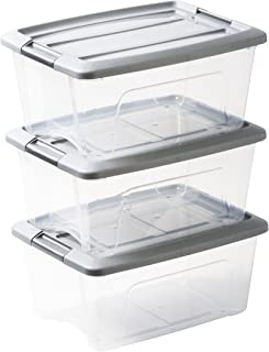Amazon Basics 103429 Lot de 3 boîtes de rangement empilables - New Top Box NTB-15, Plastique, Transparent/Gris, 15 L
