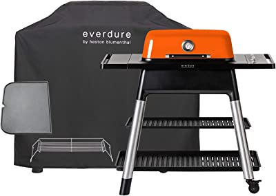 Everdure Force by Heston Blumenthal 2-Burner Liquid Portable Propane Gas Grill, Cover and Accessory Bundle: Die-Cast Aluminum Body, Orange