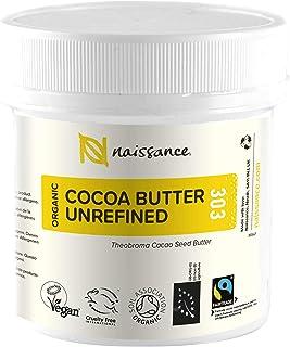 Naissance Organic & Fairtrade Unrefined Cocoa Butter (nr. 303) 100g - Puur, Natuurlijk, Ongeraffineerd, Gecertificeerd Bio...